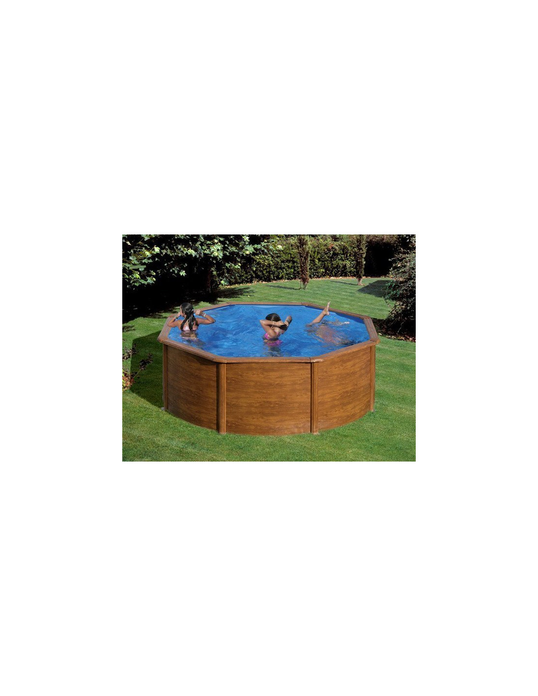 piscine ronde en acier avec imitation bois mod le pacific. Black Bedroom Furniture Sets. Home Design Ideas
